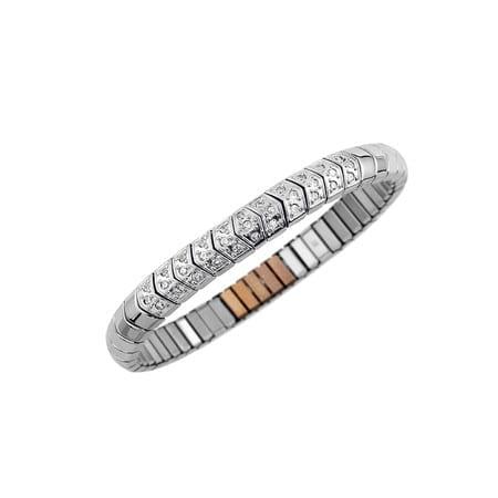 1850 Stilrent armband i polerad stål med kristaller.