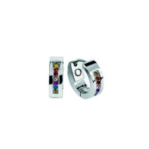 2714P Nätta silver örhänge/ringar med små stenar i olika färger.